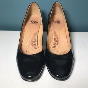 Sofft black patent leather heels pumps 8.5 comfort